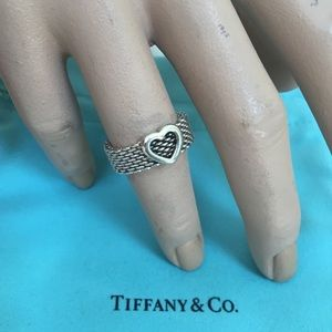 🔴💍Authentic Tiffany & Co Mesh Heart Ring 💋🌺